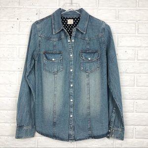 O'NEILL denim long sleeve embroidered shirt